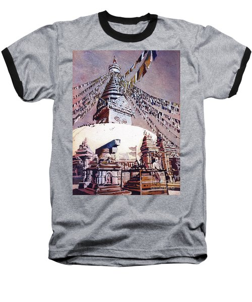 Baseball T-Shirt featuring the painting Buddhist Stupa- Nepal by Ryan Fox
