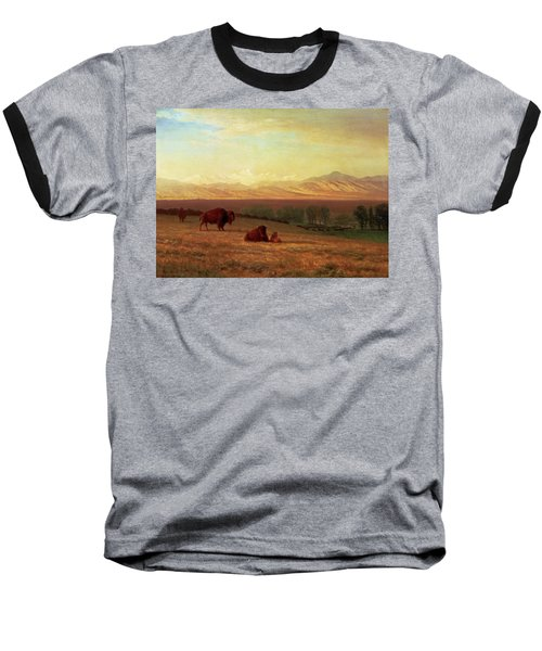 Buffalo On The Plains Baseball T-Shirt by MotionAge Designs