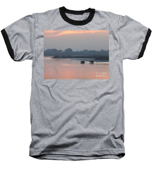 Baseball T-Shirt featuring the photograph Buffalos Crossing The Yamuna River by Jean luc Comperat