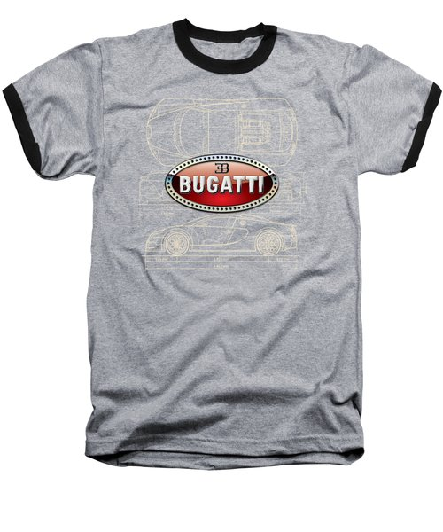 Bugatti 3 D Badge Over Bugatti Veyron Grand Sport Blueprint  Baseball T-Shirt