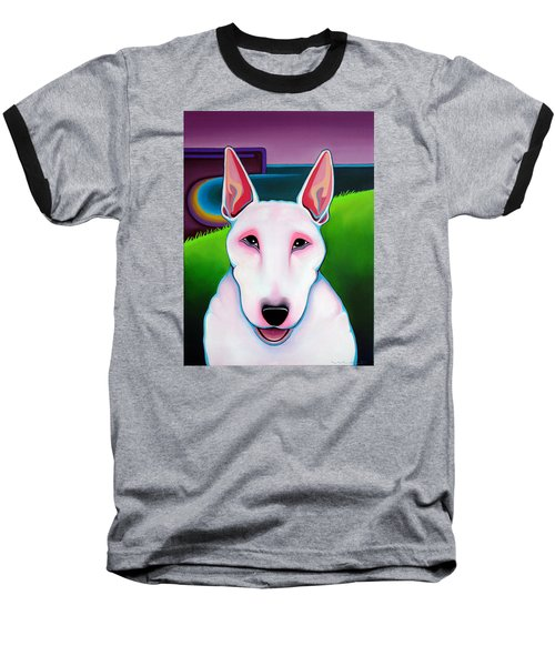 Bull Terrier Baseball T-Shirt by Leanne WILKES