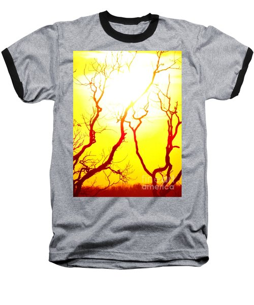 Baseball T-Shirt featuring the photograph Burning Sunset by Justin Moore
