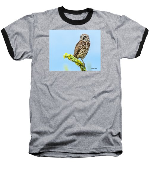 Burrowing Owl On Mullein Plant Baseball T-Shirt by Stephen  Johnson