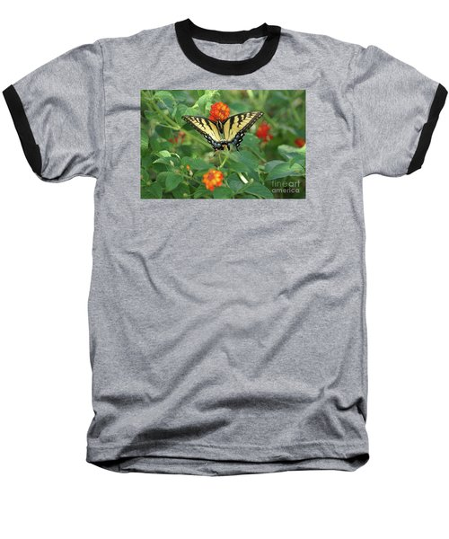 Butterfly And Flower Baseball T-Shirt by Debra Crank