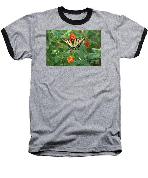Butterfly And Flower Baseball T-Shirt