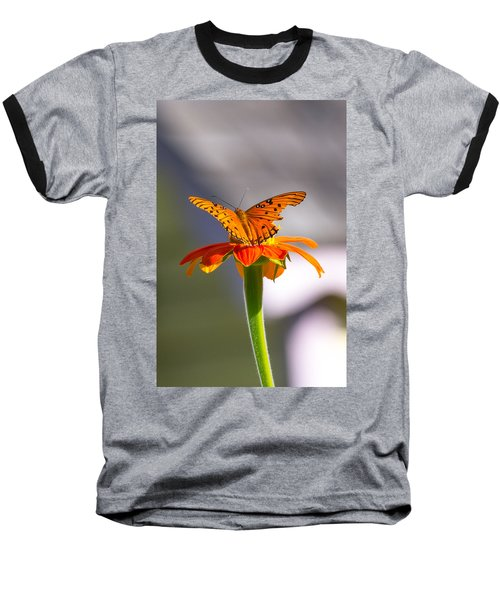 Butterfly On Flower Baseball T-Shirt