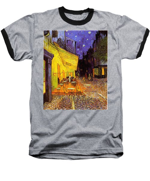 Baseball T-Shirt featuring the painting Cafe Terrace At Night by Van Gogh