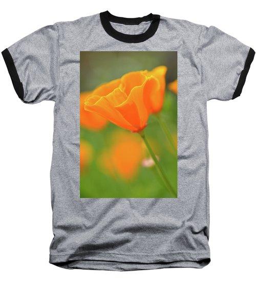 California Spring Poppy Macro Close Up Baseball T-Shirt