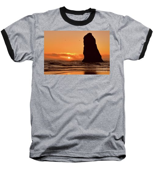Cannon Beach Sunset Baseball T-Shirt by Scott Cameron