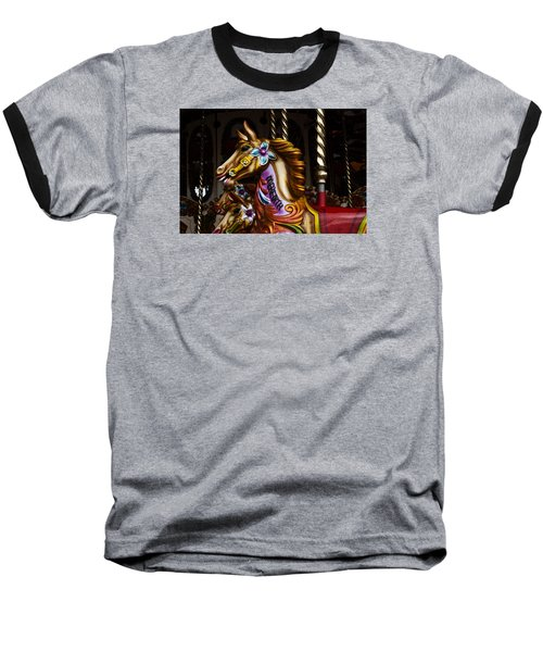 Baseball T-Shirt featuring the photograph Carousel Horses by Steve Purnell
