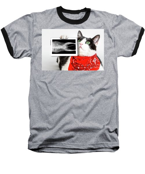Cat With X Ray Plate Baseball T-Shirt