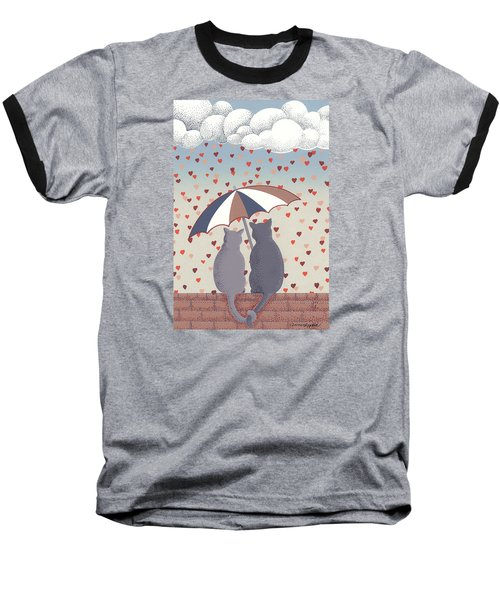 Cats In Love Baseball T-Shirt by Anne Gifford