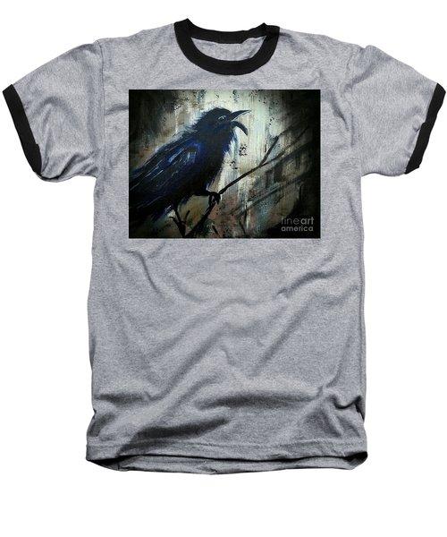 Cawing The Storm Baseball T-Shirt by Scott D Van Osdol