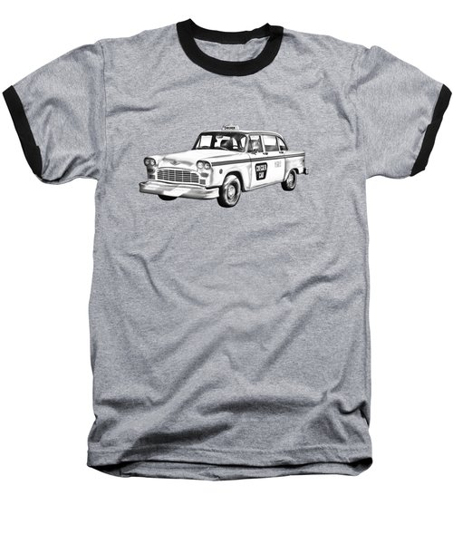 Checkered Taxi Cab Illustrastion Baseball T-Shirt