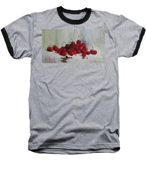 Cherries Baseball T-Shirt by Elena Oleniuc