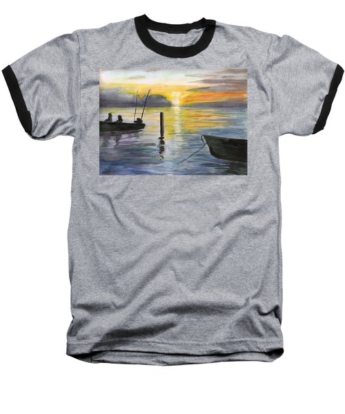Chesapeake Sunset Baseball T-Shirt by Clara Sue Beym