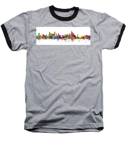 Chicago And New York City Skylines Mashup Baseball T-Shirt