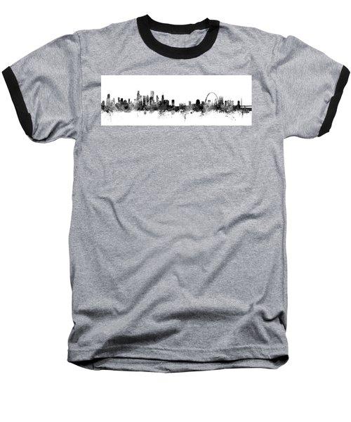 Chicago And St Louis Skyline Mashup Baseball T-Shirt