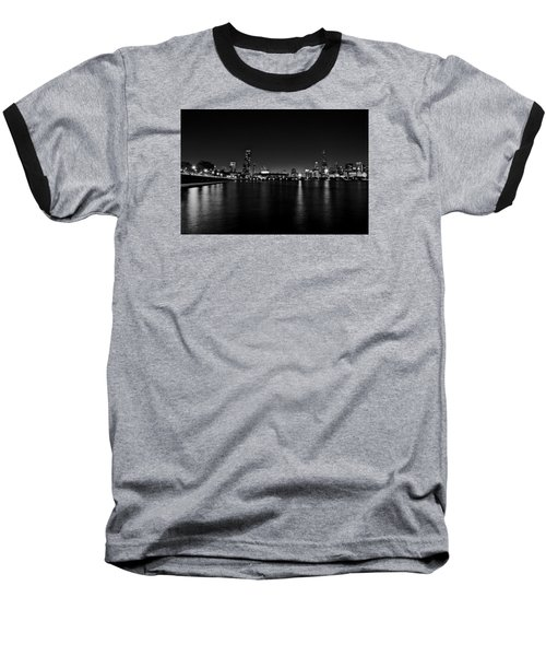 Baseball T-Shirt featuring the photograph Chicago-skyline 2 Bw by Richard Zentner