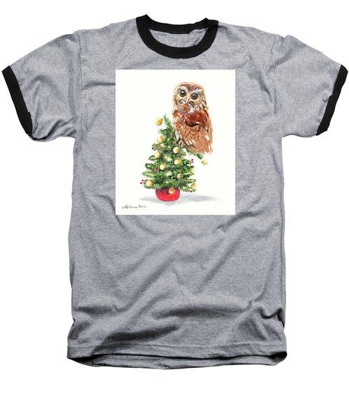 Christmas Owl Baseball T-Shirt by LeAnne Sowa