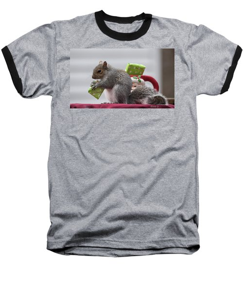 Christmas Squirrel Baseball T-Shirt