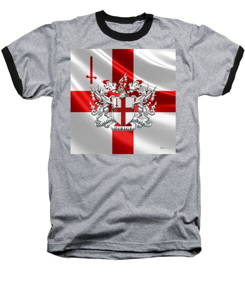 City Of London - Coat Of Arms Over Flag  Baseball T-Shirt