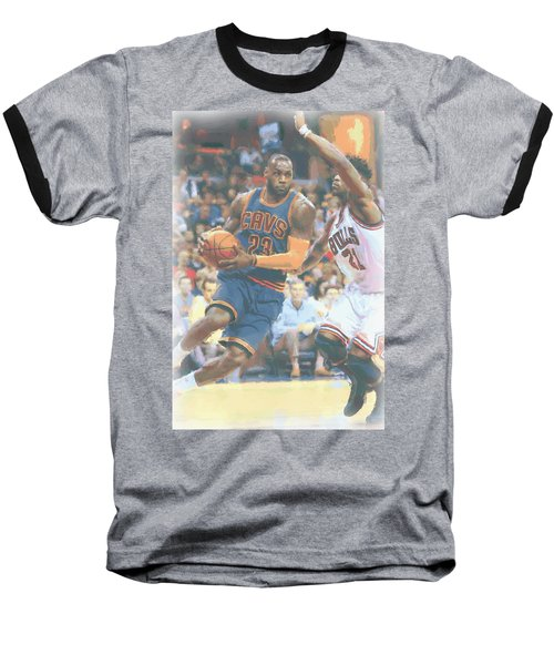 Cleveland Cavaliers Lebron James 2 Baseball T-Shirt by Joe Hamilton
