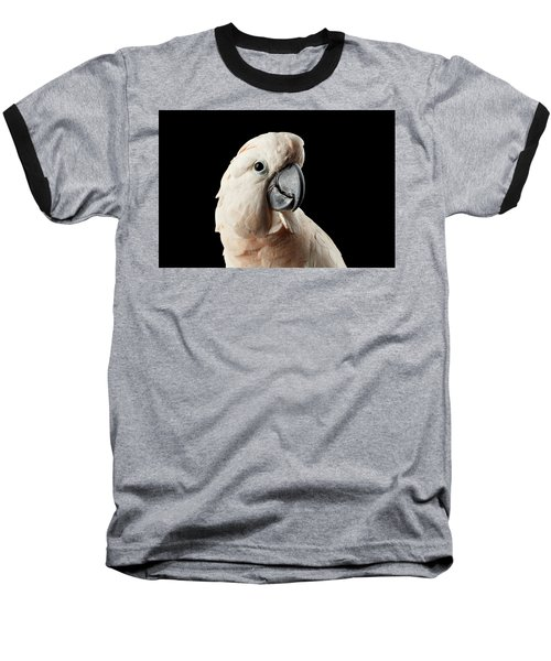 Closeup Head Of Beautiful Moluccan Cockatoo, Pink Salmon-crested Parrot Isolated On Black Background Baseball T-Shirt