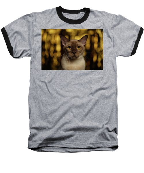 Closeup Portrait Burmese Cat On Happy New Year Background Baseball T-Shirt