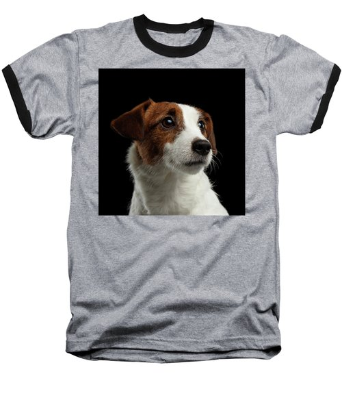 Closeup Portrait Of Jack Russell Terrier Dog On Black Baseball T-Shirt