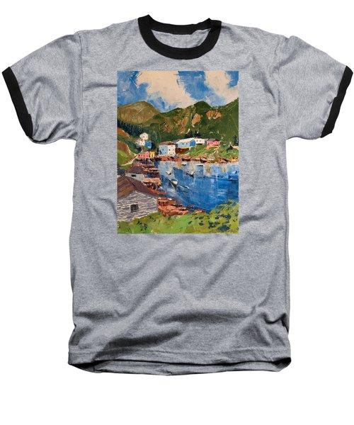 Coastal Village, Newfoundland Baseball T-Shirt by David Gilmore