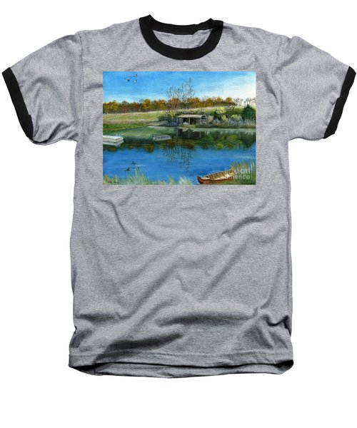 Baseball T-Shirt featuring the painting Cole Hill Pond by Melly Terpening