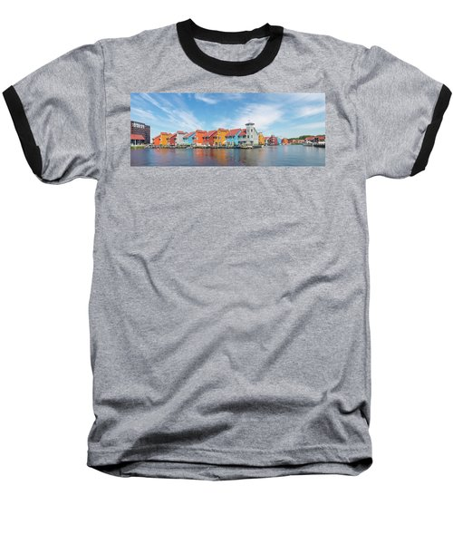 Colorful Buildings Baseball T-Shirt by Hans Engbers