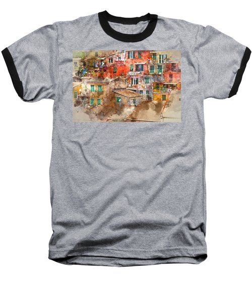 Colorful Homes In Cinque Terre Italy Baseball T-Shirt