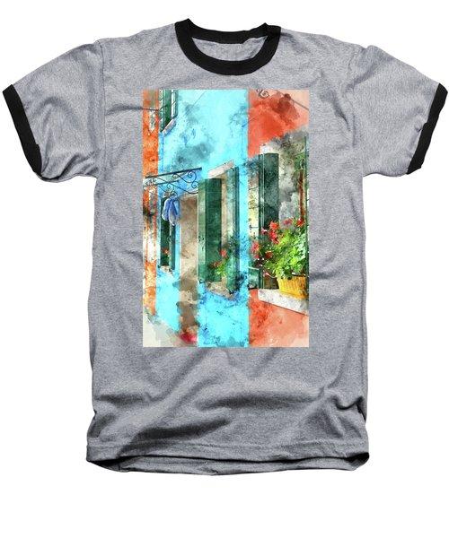 Colorful Houses In Burano Island Venice Italy Baseball T-Shirt