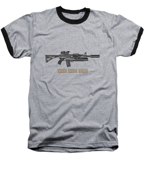 Colt  M 4 A 1  S O P M O D Carbine With 5.56 N A T O Rounds On Red Velvet  Baseball T-Shirt by Serge Averbukh