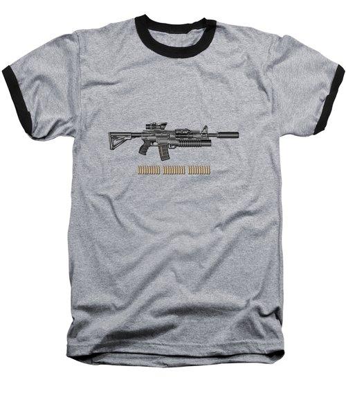 Colt  M 4 A 1  S O P M O D Carbine With 5.56 N A T O Rounds On Red Velvet  Baseball T-Shirt