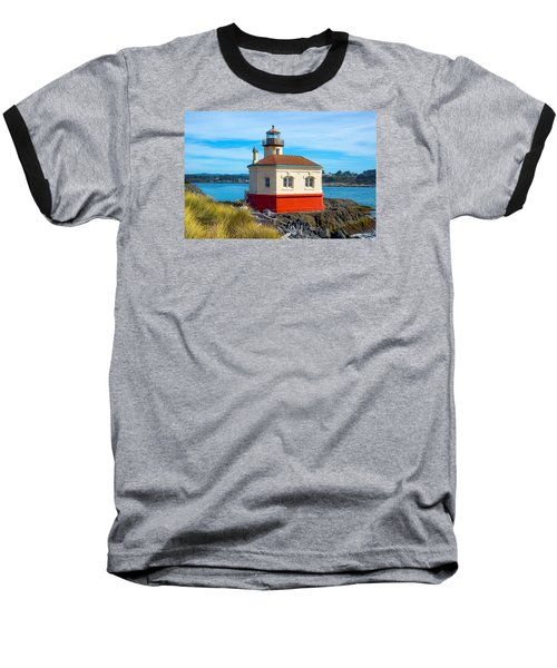 Baseball T-Shirt featuring the tapestry - textile Coquille Lighthouse by Dennis Bucklin