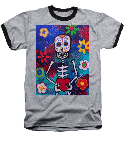 Corazon Day Of The Dead Baseball T-Shirt