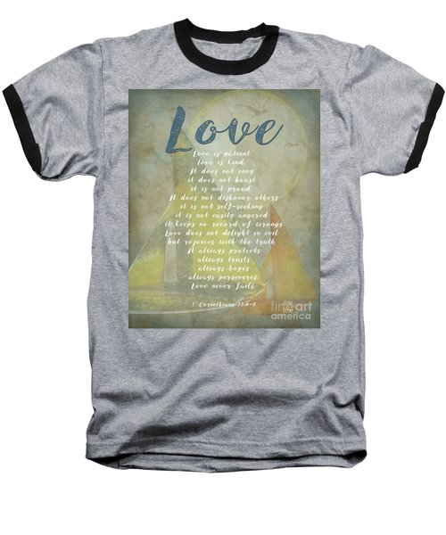 1 Corinthians 13 4-8 Love Is Patient Love Is Kind Wedding Verses. Great Gift For Men Or Home Decor. Baseball T-Shirt