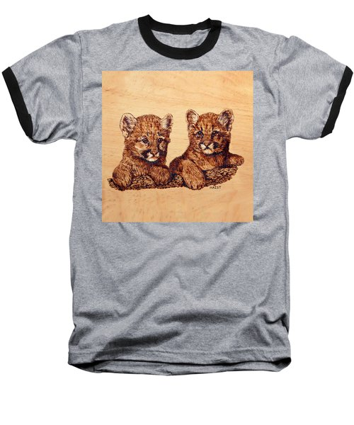Baseball T-Shirt featuring the pyrography Cougar Cubs by Ron Haist