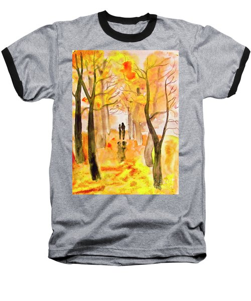 Couple On Autumn Alley, Painting Baseball T-Shirt