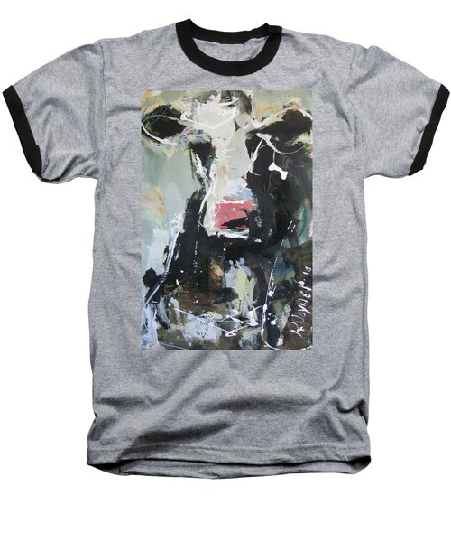 Cow Portrait Baseball T-Shirt by Robert Joyner