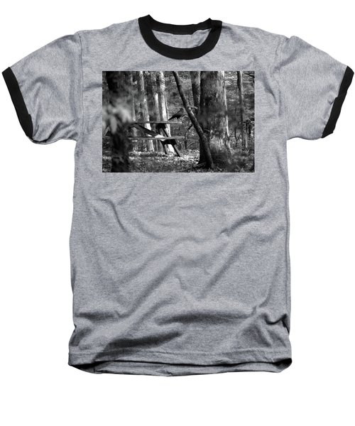 Baseball T-Shirt featuring the photograph Crow On A Table by Andy Lawless