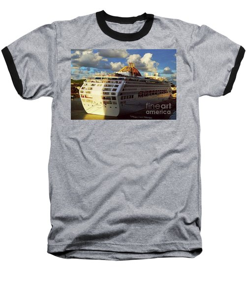 Baseball T-Shirt featuring the photograph Cruise Ship In Port by Gary Wonning