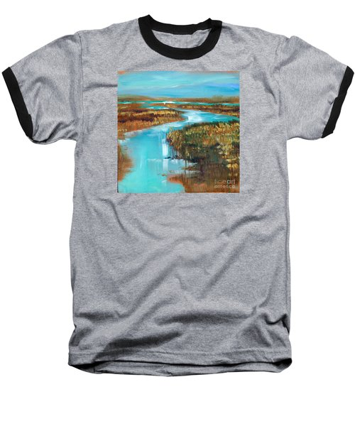 Baseball T-Shirt featuring the painting Curve In The Waterway by Linda Olsen