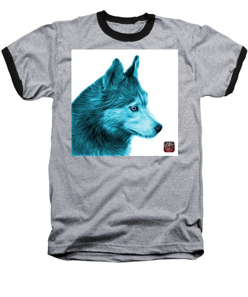 Cyan Siberian Husky Art - 6048 - Wb Baseball T-Shirt