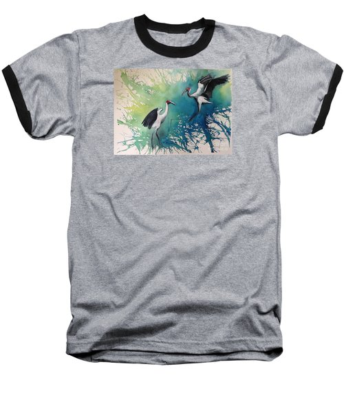 Baseball T-Shirt featuring the painting Dance Of The Brolgas - Original Sold by Therese Alcorn