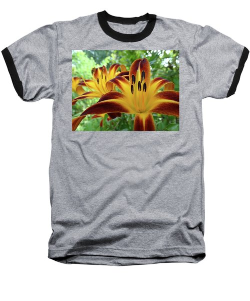 Baseball T-Shirt featuring the photograph Daylilies At Daybreak by Rebecca Overton