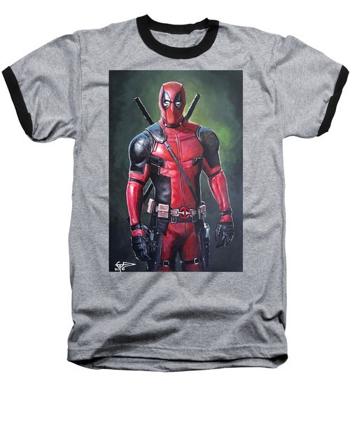 Deadpool Baseball T-Shirt by Tom Carlton